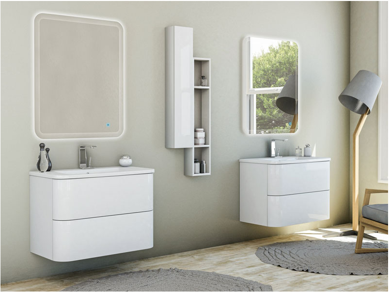Mobili Da Bagno Bianco Lucido : Mobile bagno sospeso bianco lucido con doppio specchio e doppio