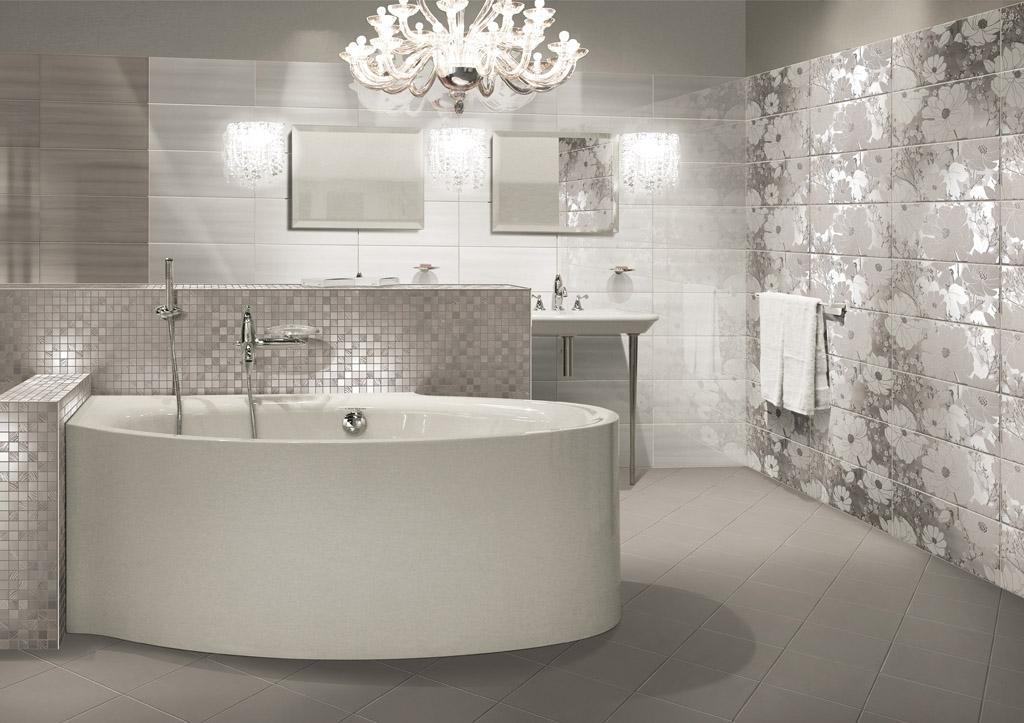 Rivestimenti da bagno skyfall shine grey 25x60 for Maioliche bagno