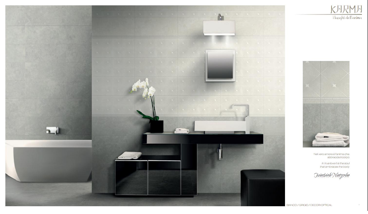 Rivestimenti da bagno bagno karma bianco e grigio