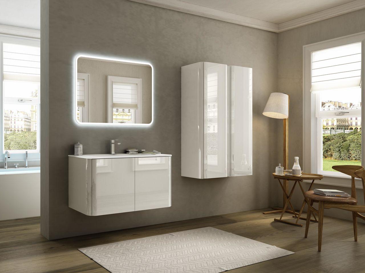 Mobile bagno sospeso moderno cm rovere bianco con specchio