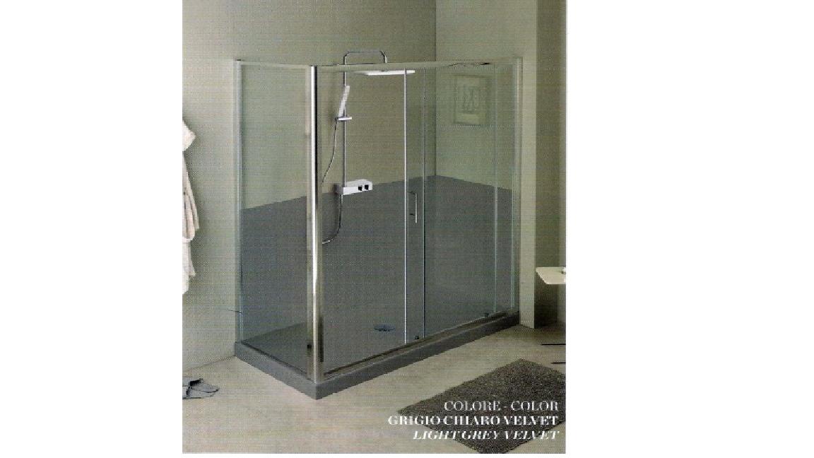 Piatti doccia : piatto doccia marmo resina grigio 70x180