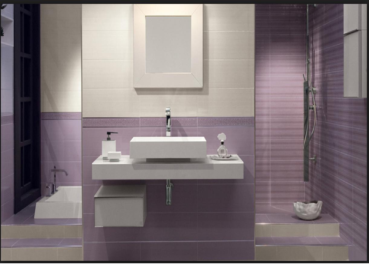 Rivestimenti da bagno acquarelli bianco e lilla 39 20x50 - Bagno lilla e bianco ...